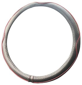 Autofurnish Premium Leatherite Car Steering Wheel Cover for Datsun Go (Black Red)
