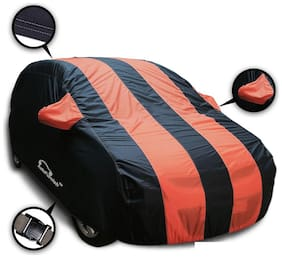 Autofurnish Stylish Orange Stripe Car Body Cover For Hyundai Elite i20 - Arc Blue