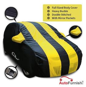 Autofurnish Stylish Yellow Stripe Car Body Cover For Mahindra Bolero - Arc Blue