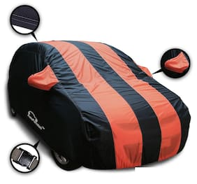 Autofurnish Stylish Orange Stripe Car Body Cover For Maruti Ignis - Arc Blue