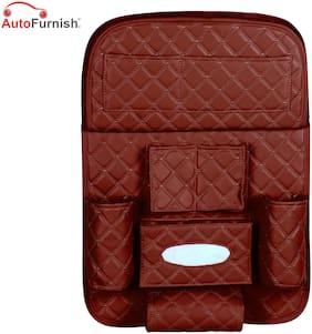 Autofurnish  Holders & Storage Seat Back Multi Pocket storage Bag For Car  Leatherite Universal Assorted  Color