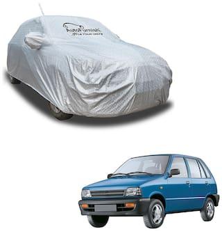 Autofurnish Aero Waterproof Heat Resistant Mirror and Antenna Pocket Car Body Cover Compatible With Maruti 800 - Aero Silver