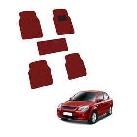 Autofurnish Anti Skid Curly Car Foot Mats (Red Black) for Ford Ikon- Custom Fit Size