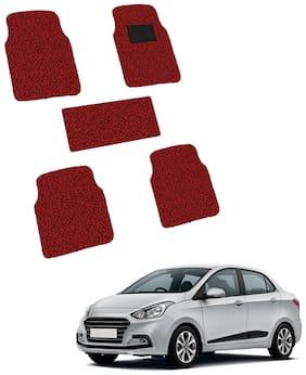 Autofurnish Anti Skid Curly Car Foot Mats (Red Black) for Hyundai Xcent- Custom Fit Size