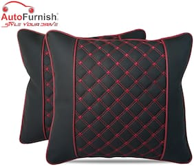 Autofurnish 7D Premium Universal Backrest Cushion (Hecta-6850) - Set of Two - Black