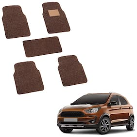 Autofurnish Anti Skid Curly Car Foot Mats (Brown) for Ford Freestyle 2018