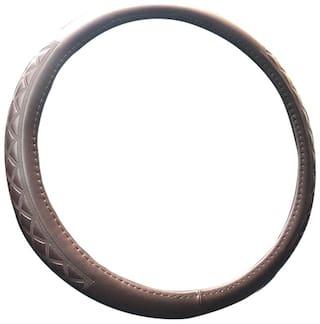 Autofurnish Premium Leatherite Car Steering Wheel Cover for Skoda Fabia (Brown)