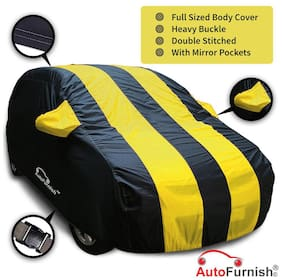 Autofurnish Yellow Stripe Water Resistant Car Body Cover For Maruti Wagon R 1.0 - Arc Blue