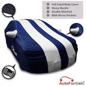 Autofurnish Stylish Silver Stripe Car Body Cover For Maruti Wagon R 1.0 - Arc Blue
