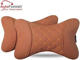 Autofurnish 7D Premium Car Pillow Neck Rest (Hecta-6840) - Set of Two - Tan