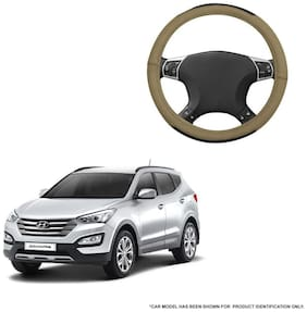 Autofurnish (AFSC-717 Hazel Beige) Leatherite Car Steering Cover For Hyundai SantaFe