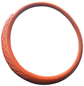 Autofurnish Premium Leatherite Car Steering Wheel Cover for Hyundai i10 (Tan)