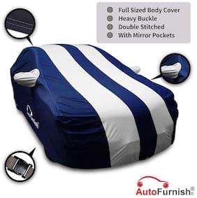 Autofurnish Stylish Silver Stripe Car Body Cover For Maruti A-Star - Arc Blue