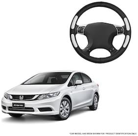 Autofurnish (AFSC-712 Flake Black) Leatherite Car Steering Cover For Honda Civic