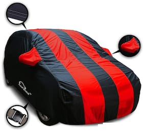 Autofurnish Stylish Red Stripe Car Body Cover For Volkswagen Polo - Arc Blue