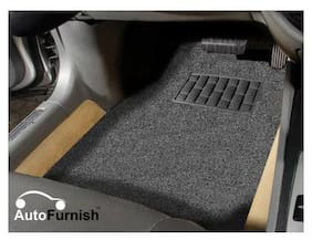 Autofurnish Anti Skid Curly Car Foot Mats (Grey Black) for Maruti Ertiga