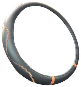 Autofurnish Premium Leatherite Car Steering Wheel Cover for Optra Pajero (Black Orange)