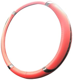 Autofurnish Premium Leatherite Car Steering Wheel Cover for Opel Astra (Red Black)