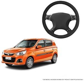 Autofurnish (AFSC-719 Yellow Black) Leatherite Car Steering Cover For Maruti Alto K10