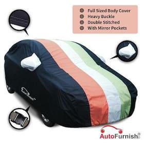 Autofurnish Stylish Freedom Tri Stripe Car Body Cover For Chevrolet Aveo - Arc Blue