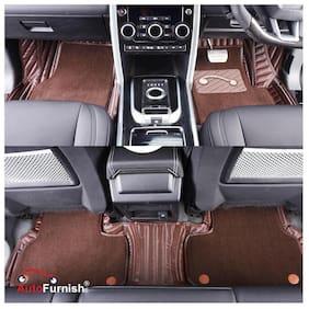 Autofurnish 7D Carbon Fiber Style Custom Fitted Car Mats For Innova Crysta - Coffee