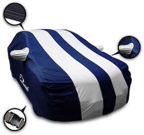 Autofurnish Stylish Silver Stripe Car Body Cover For Maruti Swift Dzire - Arc Blue