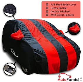 Autofurnish Stylish Red Stripe Car Body Cover For Hyundai Grand i10 - Arc Blue