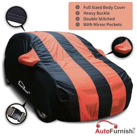 Autofurnish Stylish Orange Stripe Car Body Cover For Chevrolet Sail Hatchback - Arc Blue