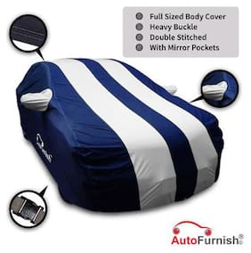 Autofurnish Stylish Silver Stripe Car Body Cover For Maruti Celerio - Arc Blue