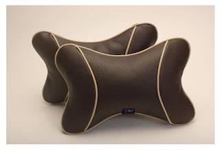 Autofurnish Premium Car Pillow Neck Rest (Hecta-6740) - Set of Two- Brown