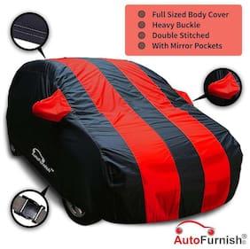 Autofurnish Stylish Red Stripe Car Body Cover For Hyundai Grand i10 - Arc Blue