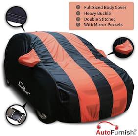 Autofurnish Stylish Orange Stripe Car Body Cover For Tata Tiago - Arc Blue