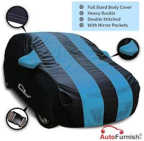 Autofurnish Stylish Aqua Stripe Car Body Cover For Hyundai Eon - Arc Blue