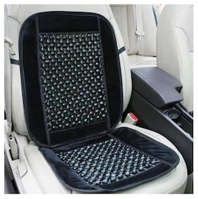 Autofurnish Car Wooden Bead Seat Cushion with Black/Beige Velvet Border