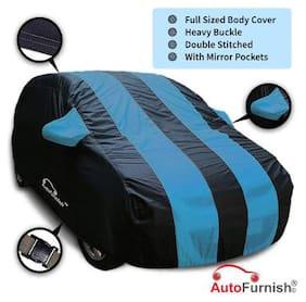Autofurnish Stylish Aqua Stripe Car Body Cover For Volkswagen Vento - Arc Blue