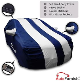 Autofurnish Stylish Silver Stripe Car Body Cover For Maruti Ciaz - Arc Blue