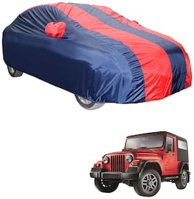 Autofurnish Stylish Red Stripe Car Body Cover For Mahindra Thar (Red and Blue)