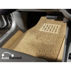 Autofurnish Anti Skid Curly Car Foot Mats (Beige) for Renault Duster