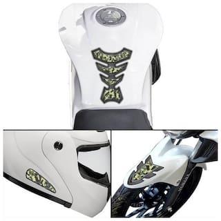 Autographix Universal Green Motor Bike Tank Pad Mudguard Helmet Helmet Stickers Decal Set of 4 pc