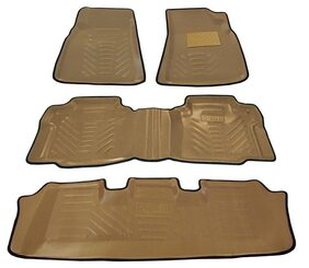 Automaze Laminated Odourless Premium Beige 4D Car Floor Mats Perfect Fit-Toyota Innova Crysta Manual-Set of 4 Pc