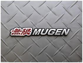 Automaze Mugen Performance Emblem Sticker 3D Car Red Chrome Grill Badge Logo Sticker For Honda Cars