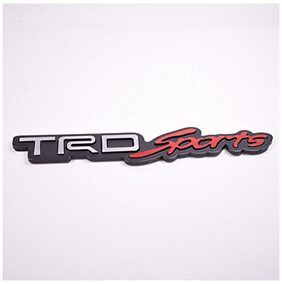 Automaze TRD Sports Performance Emblem Sticker 3D Car Red Chrome Grill Badge Logo Sticker For All Toyota Cars