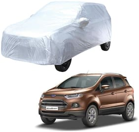 AutoRetail Ford Ecosport Silver Matty Car Body Cover for 2017 Model (Mirror Pocket;Triple Stiched)