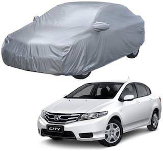 AutoRetail Honda City Silver Matty Car Body Cover For 2018 Model (Mirror Pocket;Triple Stiched)