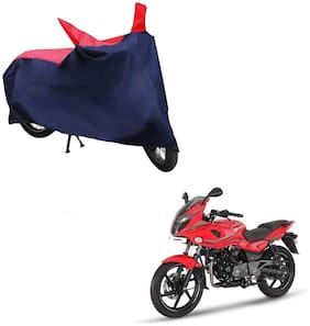 AutoRetail Two Wheeler Polyster Cover for Bajaj Pulsar 220 F with Mirror Pocket (Red and Blue Color)
