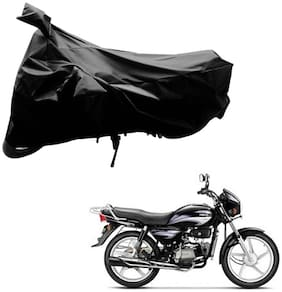 AutoRetail Two Wheeler Polyster Cover for Hero Splendor Plus with Mirror Pocket (Black Color)