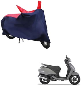 AutoRetail Two Wheeler Polyster Cover for TVS Jupiter with Mirror Pocket (Red and Blue Color)