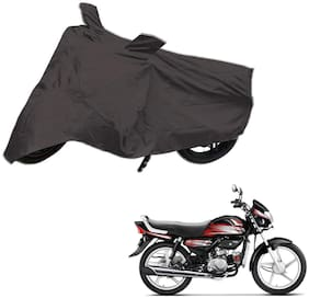 AutoRetail Weather Resistant Two Wheeler Polyster Cover for Hero HF Deluxe (Mirror Pocket;Grey Color)