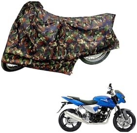 AutoRetail Weather Resistant Two Wheeler Polyster Cover for Bajaj Pulsar 150 DTS-i (Mirror Pocket;Multi Color)