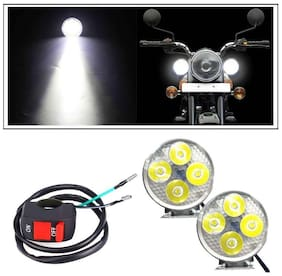 Autosky 4 Led Circle Motorcycle Light Bike Fog Lamp Light Set of 2 with On-Off switch